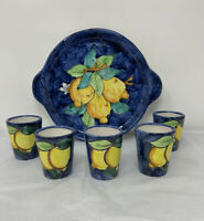 "Vietri Pottery 9"" Lemon Tray With 5 Limoncello Shot Glasses ~  Italy"
