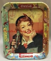 1950s Vintage Coca Cola Girl Tin Serving Tray Have A Coke Thirst Knows No Season