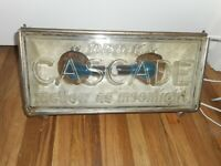 RARE OLD Vintage CASCADE WHISKEY Raised Glass Lighted Art Deco ADVERTISING SIGN