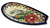 Polish Pottery Spoon rest Signed Unikat 5quot; by 3quot; Free Shipping