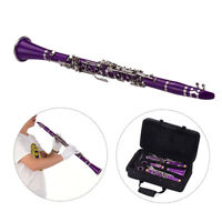 Muslady ABS 17-Key Clarinet Bb Flat with Carry Case Gloves Cleaning Cloth H9N6