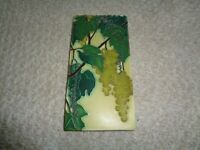 Motawi tile rectangle green grapes vines signed Rebecca art crafts detailed thic
