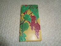 Motawi tile rectangle cranberry  grapes vines signed Rebecca art crafts detailed