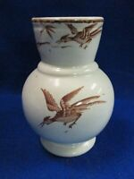 1800#x27;S VICTORIAN BROWN TRANSFERWARE AESTHETIC TONQUIN PATTERN TOOTHBRUSH HOLDER