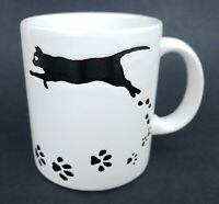 Waechtersbach Mug Black Cat Coffee Cup Leaping Silhouette Paws on White Spain
