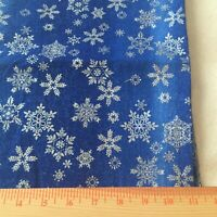 Silver metallic glitter snowflakes on blended blues 1 yd 30quot;by 43quot;