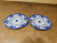 TWO English Staffordshire Flow Blue China CONWAY Plates New Wharf Pottery 10quot;