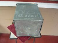 Vintage gALVANIZED Metal Porch MILK bOX sMITH bROTHERS mILK Insulated Crate