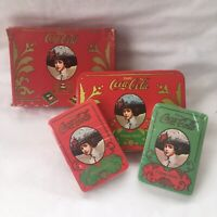 Coca Cola Gibson Girl Holiday Playing Cards Vintage Box in Tin Sealed 2 Decks