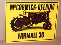 FARMALL 30 McCormick Deering with TRACTOR Old Tin Sign DATE #x27;92 Case Co.