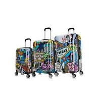 Prints Hardside Suitcase Luggage Lightweight Spinner 3 Pc Set 20quot; 24quot; 28quot; Cities