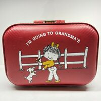 VINTAGE I'm Going To Grandmas Small Suitcase Red Kids Overnight Bag