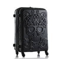 Travel Luggage Suitcase On Wheels Skull Embossed Cabin Bag Black 20quot; 24quot;