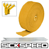 YELLOW TURBO MANIFOLD HEAT EXHAUST THERMAL WRAP TAPE & STAINLESS TIES 2