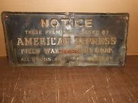 Vintage American Express Field Warehousing Embossed Tin Sign