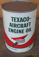 NOS Texaco Vintage Metal Quart Aircraft Engine Oil 60#x27;s SAE 50 FULL Flying Wing