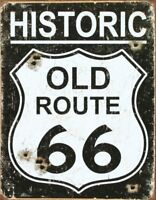 Old Route 66 - Vintage Rustic Retro Tin Metal Sign 13 x 16in