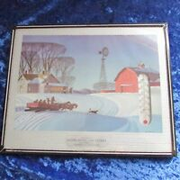 Vintage 1950's Beautiful Thermometer from Auburndale Wisconsin w/Winter Scene