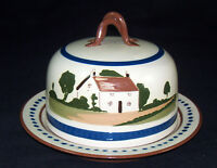 Watcombe Torquay England Motto Ware Round Covered Cheese Dish Dome Keeper