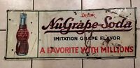 "Vintage NUGRAPE Soda Sign Metal Tin Sign 1940's Rare 31""L x 12"" W not Coke Pepsi"