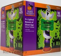 Halloween 9 ft LED Beware of Ghost Crossing Sign Airblown Inflatable NIB