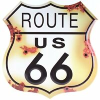 Route 66 Distressed Vintage Retro Metal Sign 13 1/2