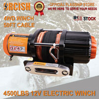 ORCISH 4500LB Electric Winch 12V ATV offroad Waterproof Boat Synthetic Cable kit