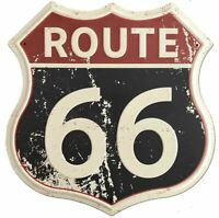 Route 66 Rustic Retro Road Polygon Metal Tin Sign 12