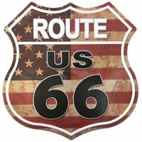 Route US 66 Flag Road Tin Metal Sign