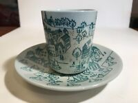 Vintage Nymolle Pottery Hoyrup pattern Espresso or Tea cups and saucers