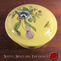 Vintage Montpellier Siffre French Faience Pottery Maiolica Floral Box