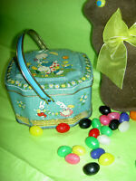 Darling vintage, Horner & Co., England, Easter basket candy tin with advertising