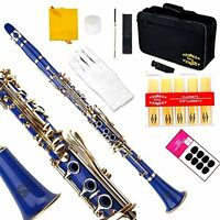 Clarinet (Bb) w/2nd Barrel 11reeds 8 Pads Case Care Kit - Blue with Gold Keys