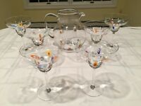 Vtg Murano Glass Millefiori Margarita Martini COCKTAIL PITCHER & 6 GLASSES SET