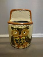 Owl Wall Pocket Counterpoint Japan Handpainted Pottery Vintage Planter 5