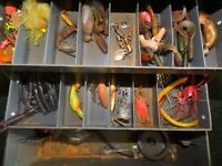 Old Fenwick BlackHawk 1063 tackle box filled with tackle