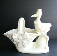 HAEGER WHITE POTTERY LARGE STORK & BASKET FLOWER VASE / PLANTER