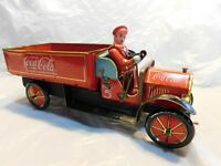 vintage tin metal litho Coca Cola Coke delivery truck toy advertising estate old