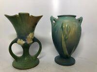 Lot of 2 Vintage Signed Art Pottery Roseville Handled Vases Floral Blue Green