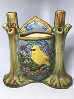 Beautiful Vintage Unsigned Art Pottery Bird Wall Pocket Vase