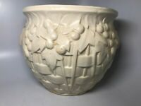 Beautiful Vintage Signed Art Pottery USA Large White Planter Vase Basket Weave