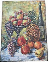 ANTIQUE EARLY OIL ON BOARD PAITING OF FRUIT STAND amp; WINE BOTTLE $695.00