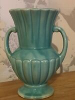 "Vintage McCoy Art Pottery 7-1/4"" Aqua-blue-Green Vase, Handled, USA"