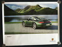 PORSCHE 997 911 TARGA 4 GREEN OFFICIAL SHOWROOM POSTER 2008 - 2009 RARE