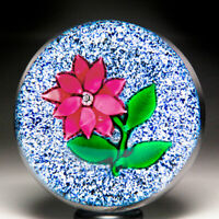 Antique New England Glass Company red poinsettia on jasper ground paperweight