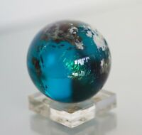 Lundberg Studio Art Glass Paperweight World Globe 1998 Signed Numbered 2 1/4