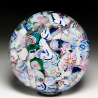 Antique New England Glass Company scramble millefiori and silhouette paperweight