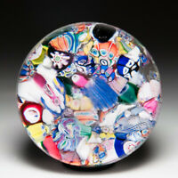 Antique New England Glass Company millefiori and silhouettes paperweight