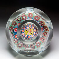 Murano close concentric millefiori mushroom faceted glass paperweight