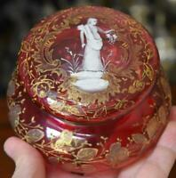 LOVELY VICTORIAN MOSER CRANBERRY GLASS DRESSER BOX MARY GREGORY GOLD DECORATIONS